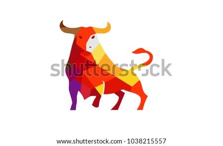 Creative Polygonal Bull Logo Symbol Design Illustration