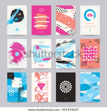 Creative poster, art flyer, colorful modern invitation, birthday and wedding card, web banner. Artistic templates with hand drawn textures, geometric symbols, thin line icons, paint dabs, zen circles.
