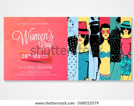 Creative poster, banner or flyer design with illustration of young girls for Women\'s Day Party celebration.