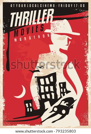 Creative poster design for thriller movie show. Cinema poster template with secret agent silhouette and night city scene. Vector layout.