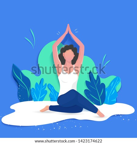 Creative poster or banner design with illustration of woman doing yoga for Yoga Day Celebration on abstract background.