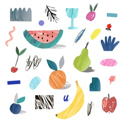Creative poster with fruits. Hand drawn textures. Paper cut elements. Design for card, invitation, placard, brochure, flyer. Vector. Isolated.