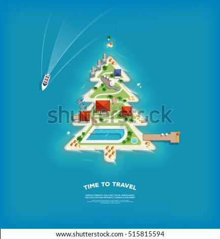 Creative poster with Island in the form of a Christmas tree. Vacation holiday banner. Top view of the island. Holiday trip. Travel and tourism.