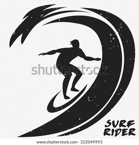 creative poster with surfer