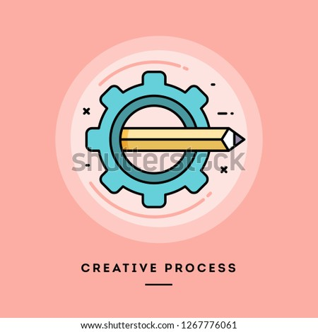 Creative process, flat design thin line banner, usage for e-mail newsletters, web banners, headers, blog posts, print and more. Vector illustration.