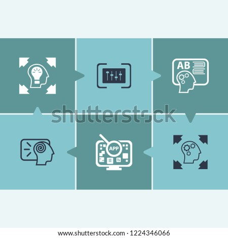 Creative process icon set and app with creative process, creative idea and balance. Solution related creative process icon vector for web UI logo design.