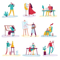 Creative profession artist. Artistic people art sculptor, artisan painter and fashion designer. Creators artists, artist with painting canvas or sculptor craftsman isolated vector icons set