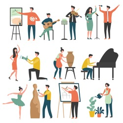Creative profession. Stylized characters of creative peoples artists sculptors draws actors vector colored pictures. Illustration of sculptor and artist, profession musician