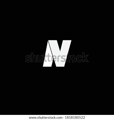 Creative Professional Trendy and Minimal Letter NV VN Logo Design in Black and White Color, Initial Based Alphabet Icon Logo in Editable Vector Format Imagine de stoc ©