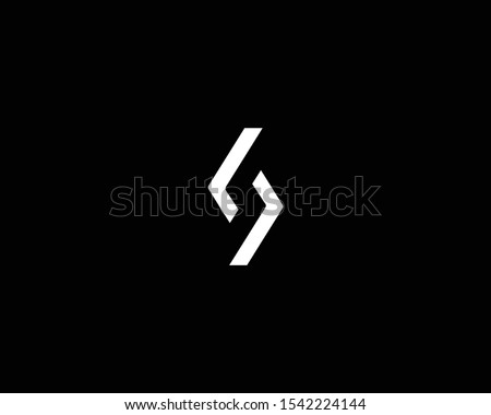 Creative Professional Trendy Letter S LL Logo Design in Black and White Color , Initial Based Alphabet Icon Logo Stock fotó ©