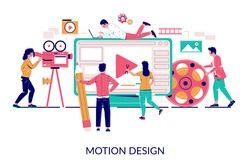 Creative professionals team animators, designers creating animated movie, vector flat illustration. Animation and motion graphics studio, animation industry.