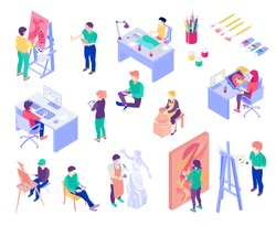 Creative professions artist, potter, graphic designer, sculpture master, set of isometric people isolated vector illustration
