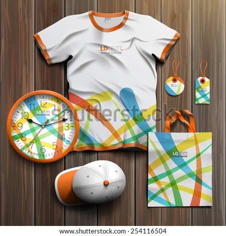 Creative promotional souvenirs design for corporate identity with color art elements. Stationery set