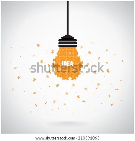 Creative Puzzle Light Bulb Idea Concept Background Design