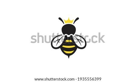 Creative Queen Bee Lines Logo Design Vector Illustration Сток-фото ©