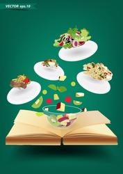 Creative recipe book concept idea, Modern template design vector illustration
