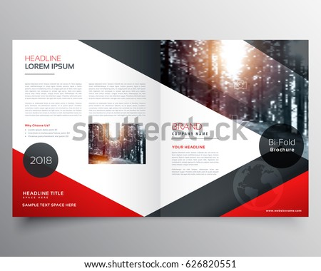 creative red and black bifold brochure or magazine cover page design template