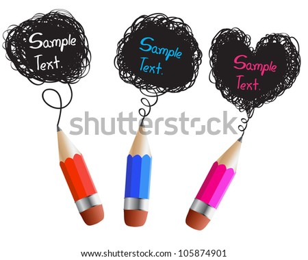 Creative red blue pink pencils with abstract speech bubbles isolated on white background. - stock vector