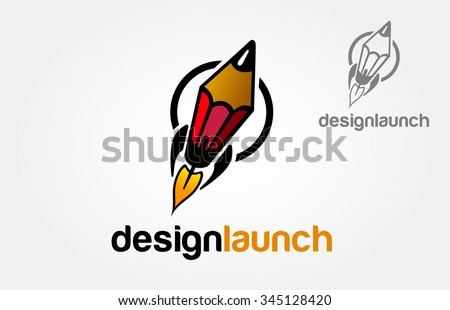 Creative Rocket in circle. Vector Logo Template. Isolated Pencil-Rocket Illustration.