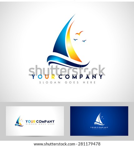 Creative Sailing Boat Logo. Creative vector design of a sailing yacht and business card template