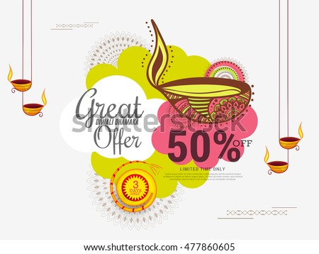 Creative sale banner or sale poster for festival of diwali celebration background.