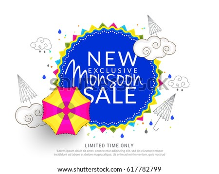 Creative Sale Banner Or Sale Poster Of Monsoon Season With Colorful Line Art Umbrella,Text Space Background.