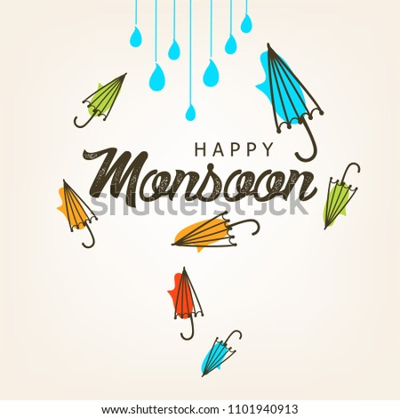 Creative Sale Banner Or Sale Poster Of Monsoon Season With Colorful Umbrella,rain drop,Text Space Background rainy elements with hand lettering text for promotion, flyer and greetings.