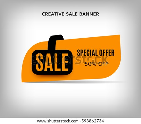 Creative sale banner with shadow on a abstract gray background. Orange sticker or discount label. Web special offer tag.