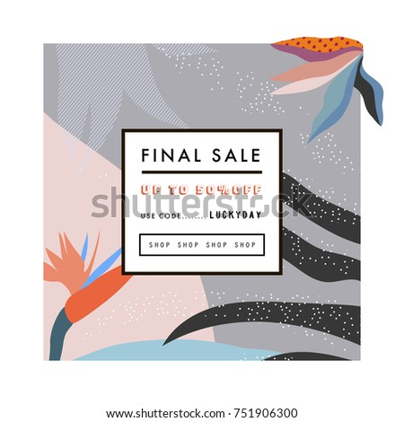 Creative Sale header or banner with discount offer. Design for seasonal  clearance. It can be used in advertising, web design, graphic design.
