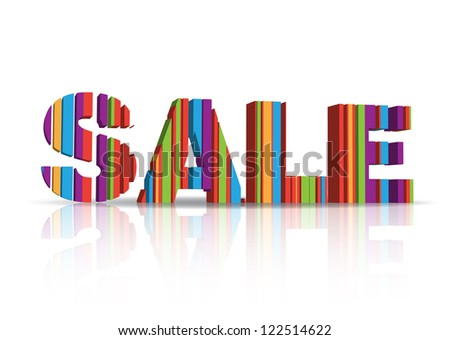Creative sale text made of lines. 3d letters, EPS10 vector.