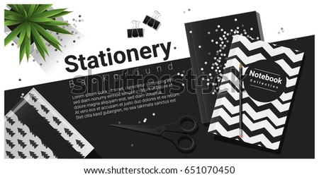 Creative scene with black and white stationery background , vector , illustration