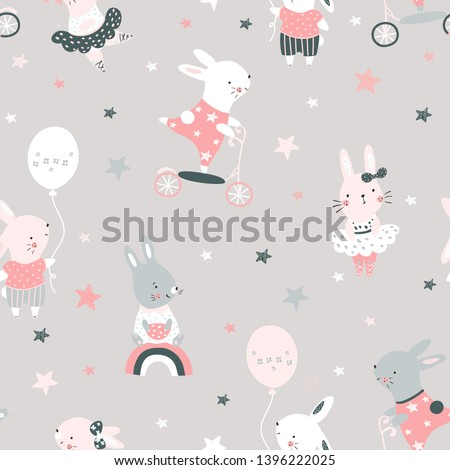 Creative seamless childish pattern with cute rabbits . Vector baby design for fashion apparels, fabric, textile; wrapping and wallpaper.