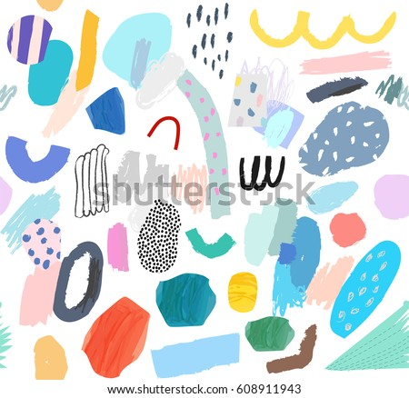 Creative Seamless pattern. Artistic universal background. Hand Drawn textures. Design for poster, card, invitation, header, cover, placard, brochure, flyer.