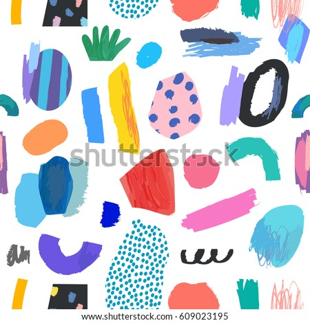 Creative Seamless pattern. Artistic universal background. Hand Drawn textures. Design for poster, card, invitation, header, cover, placard, brochure, flyer and more