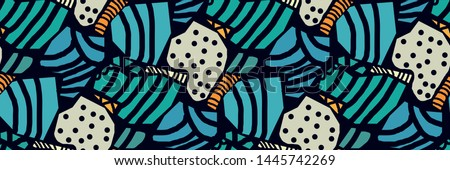Creative seamless pattern in the style of Picasso. Various hand-drawn geometric shapes in turquoise, gold tones. Grunge texture. Minimalistic vintage design. Crazy art Wallpaper. Vector illustration.