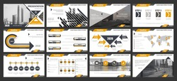 Creative set of abstract infographic elements. Modern presentation template with title sheet. Brochure design in dark blue, white and gray colors. Vector illustration. City street image. Urban.