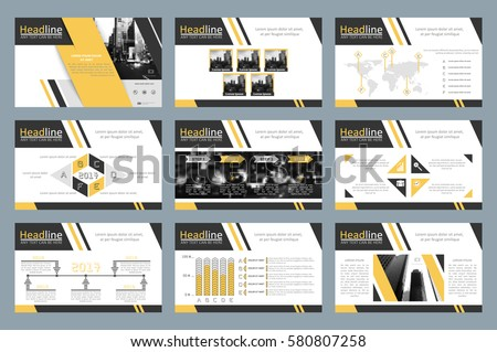 Creative set of abstract infographic elements. Modern presentation template with title sheet. Brochure design in yellow, white and gray colors. Vector illustration. City building image.