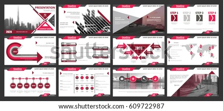 Creative set of abstract infographic elements. Modern presentation template with title sheet. Brochure design in pink, dark red, white and gray colors. Vector illustration. City, street image.