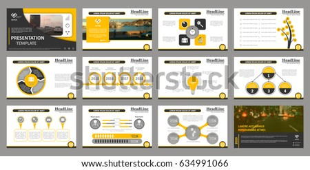 Creative set of abstract infographic elements. Modern presentation template with title sheet. Brochure design in dark gray, white and gray colors. Vector illustration. City street image. Urban.