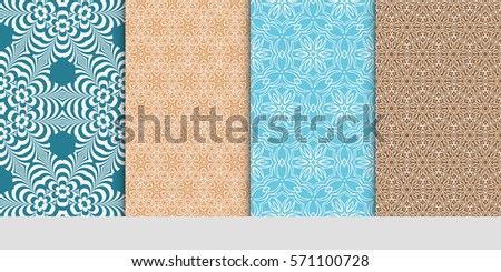creative set of decorative geometric line pattern. linear floral seamless ornament. vector illustration. for design, wallpaper, fabric, invitation, brochure #571100728