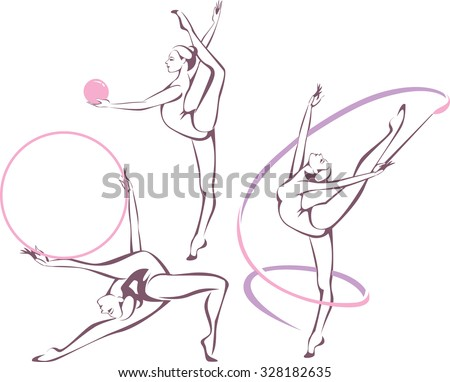 Creative set of gymnastic girl vector illustration