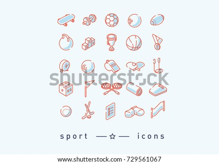 Creative set of icons on sports, sports items