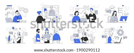 Creative set of outline vector illustrations depicting business people communicating with each other and customers. Simple style vector illustrations isolated on white background,