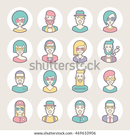 creative set of round avatars