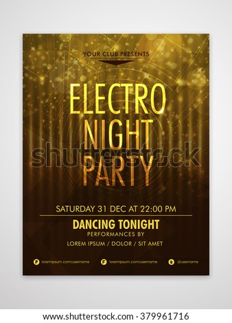 Creative shiny Flyer, Banner or Template design for Electro Night Party celebration. #379961716