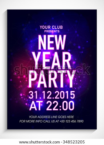 creative shiny flyer banner or template design for new year party celebration