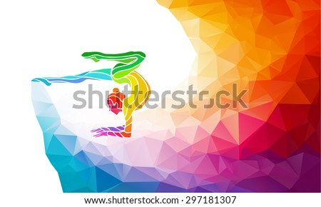 Creative silhouette of gymnastic girl. Art gymnastics with ball, colorful vector illustration with background or sports banner template in trendy abstract colorful polygon style and rainbow back