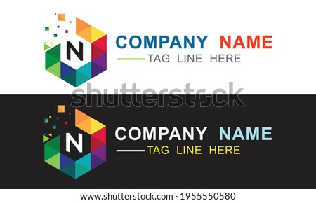 creative simple and professional piexl effect capital n letter logo for your company and business Foto stock ©