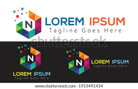 creative simple professional and amazing pixel box n letter or font logo for your company and business Foto stock ©