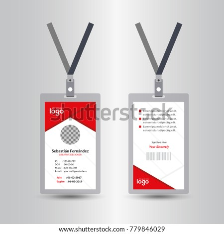 Creative Simple Red Id Card Design Vector Template, staff id card, vector design and text template illustration